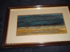 VINTAGE FRAMED GLAZED ORIGINAL OIL PAINTING SIGNED P PIPER ? BEACH AT NIGHT MOOD